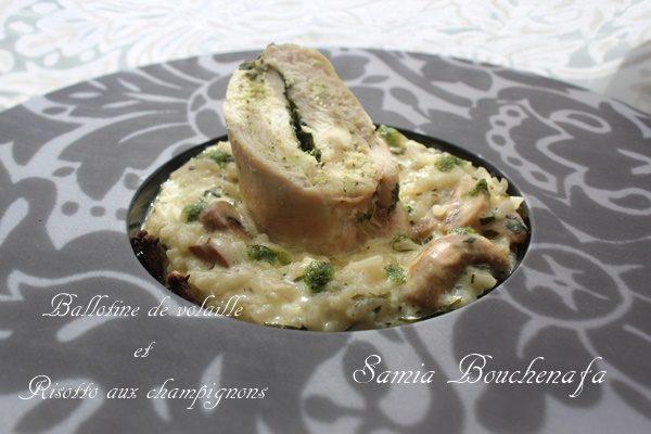 Ballotine de poulet vapeur farcie aux épinards à la crème