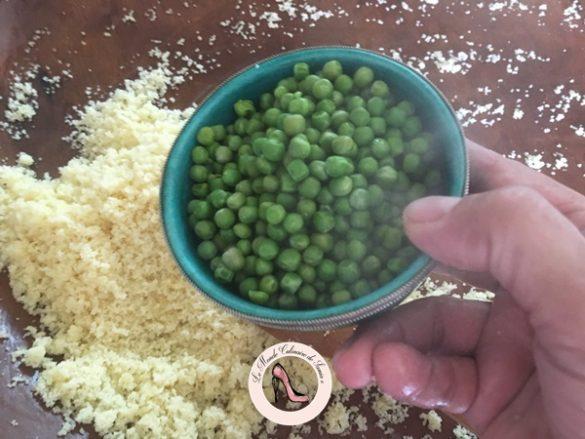 Véritable recette couscous au petits pois (mesfouf  bel djelbana)