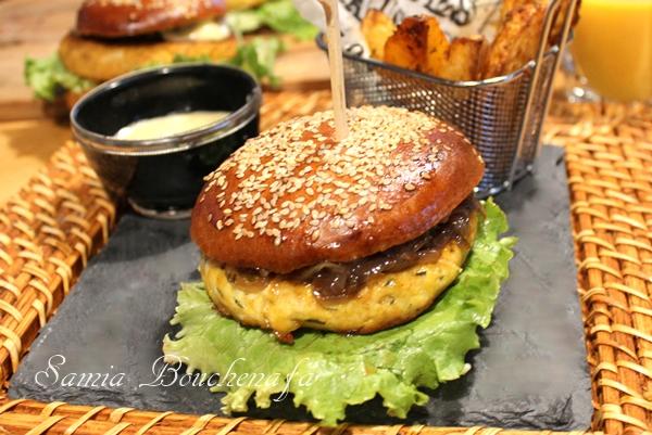 Hamburger à L Orientale Burger Maison Au Poulet Et Oignons Caramélisés