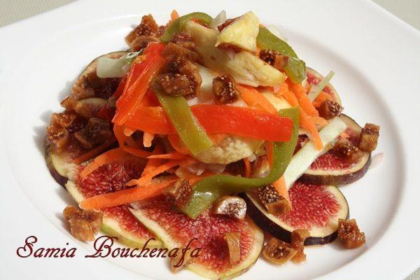 Salade aux trois figues, pommes verte et poivrons