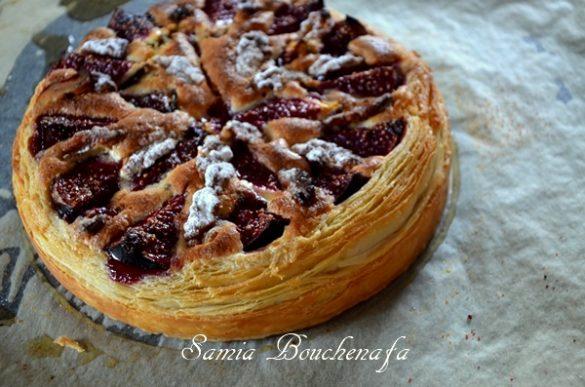 tarte feuilletage semi inversé figues et noix