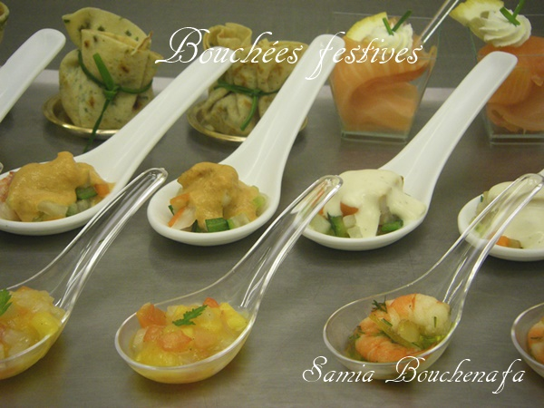 Bouchées apéro dînatoire de St-Jacques-gingembre et citron vert