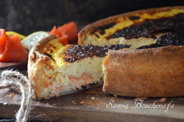 Quiche aux saumons fumé et frais au fromage