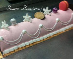 buche macaron rose verveine framboise