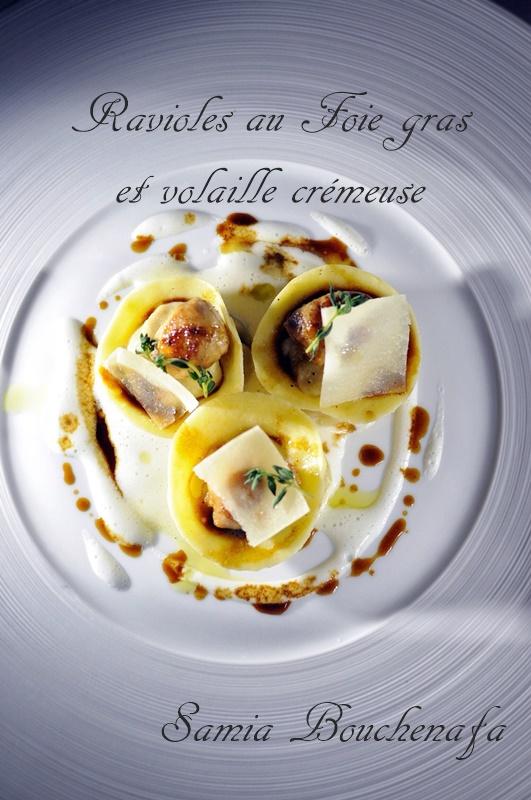 ravioles au foie gras et volaille crémeuse