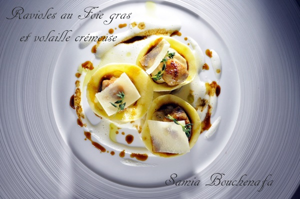 Ravioles au foie gras et crème de volaille