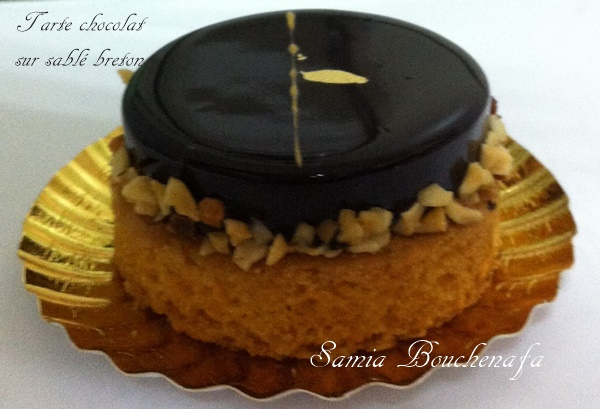 tarte chocolat sur sablé breton