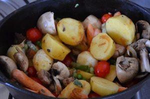 rôti veau et légumes