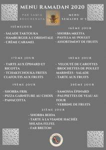 menu du ftour ramadan 2020 3 eme semaine