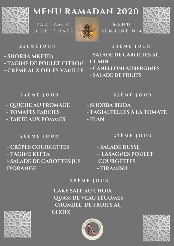 menu ramadan 2020 semain 4