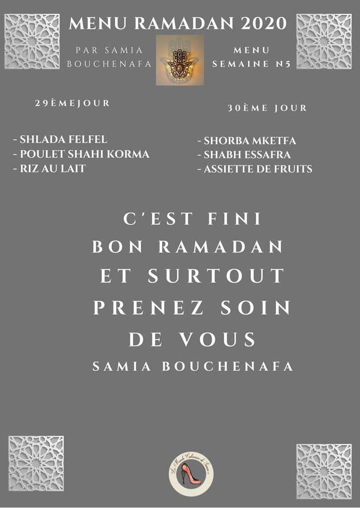 menu ramadan 2020 5 ème semaine