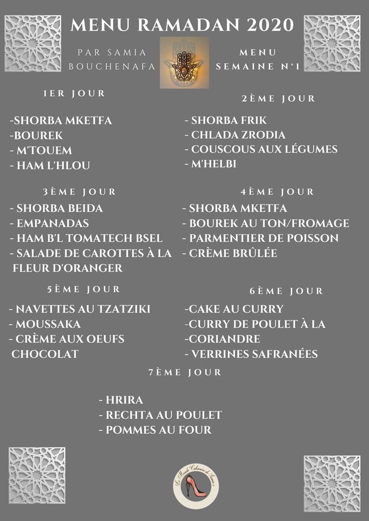 menu complet ramadan 2020 1 ère semaine